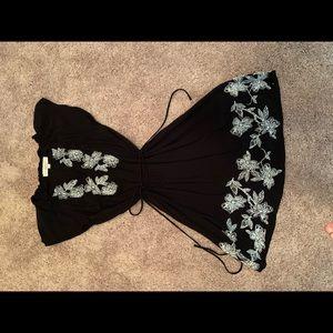 Loft black dress with waist tie